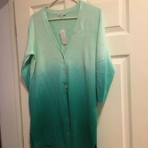 NWTS green ombre sweater M ISSAC MIZRAHI